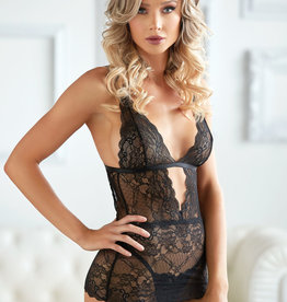 Allure Lingerie Dahlia Lace Chemise with G-String - Black