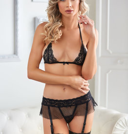 Allure Lingerie Willow Lace & Mesh Bra & Garter G-string Two Piece Set