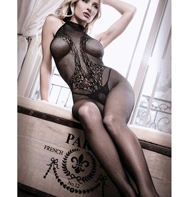 Fantasy Lingerie Sheer Fantasy Lace Halter Bodystocking w/Ornate Tattoo Detail Black O/S