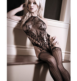 Allure Lingerie Sheer Fantasy Goodnight Kiss Caged Halter Teddy w/Attached Stockings Black O/S