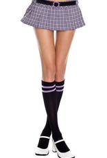 Music Legs Athlete knee hi with double stripes top - Black/Purple - OS