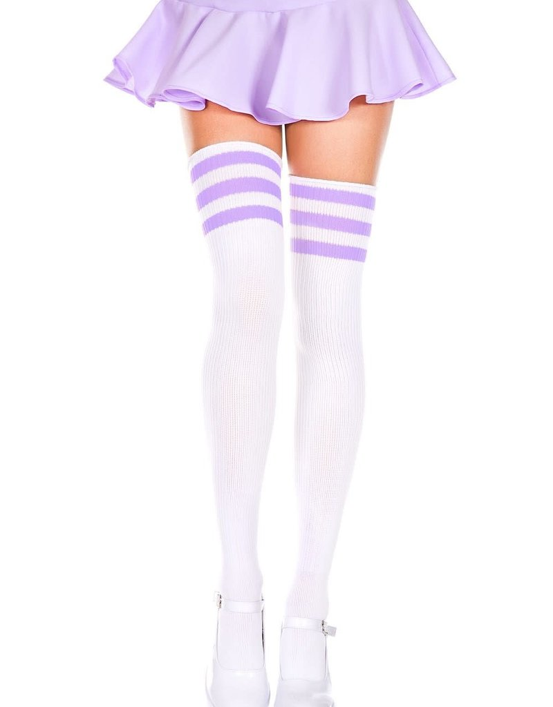 Music Legs Athletic Striped Thigh Highs - OS - White/Light Purple
