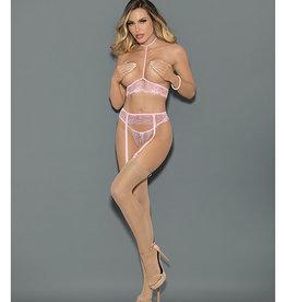 Escante Euphoria Collar Open Bra, Garterbelt & Panty Set Pink O/S