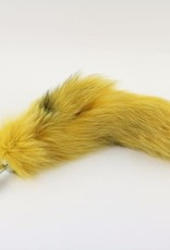 """Touch of Fur 14""""-17"""" Platinum Fox Tail Dyed Yellow on a detachable Small stainless steel Plug"""