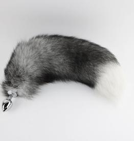 "Touch of Fur 16-18"" Indigo Fox Tail Butt Plug on Medium Stainless Steel Plug"