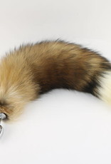 """Touch of Fur 14-17"""" Red Fox Tail Butt Plug on Large Stainless Steel Plug"""
