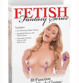 Pipedream Fetish Fantasy 10 Function Vibrating Nipple Clamps Purple