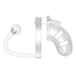 """Shots Mancage Shots Man Cage Chastity 3.5"""" Cock Cage w/Plug Model 10 - Clear"""