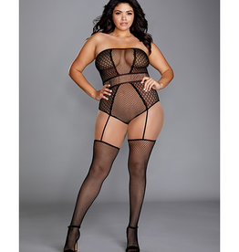 Dreamgirl Strapless Teddy Bodystocking w/Attached Garters Black QN