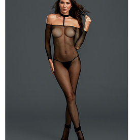 Dreamgirl Fishnet Off the Shoulder Bodystocking w/Attached Collar Black O/S