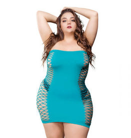 Beverly Hills Naughty Girl 2 Way Tube Mesh Dress - Turquoise - 1x-4x