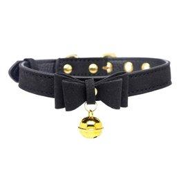 XR Brands Master Series Master Series Golden Kitty Cat Bell Collar - Black/Gold