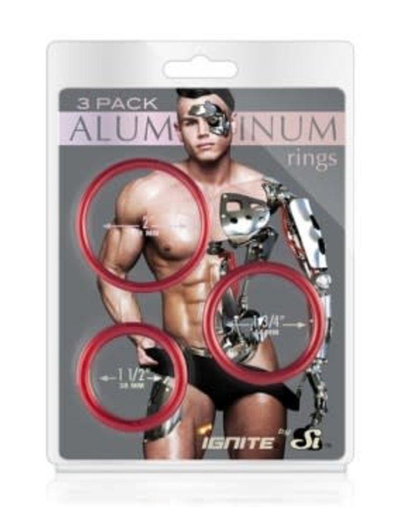 SI Novelties Aluminum Ring - Hellfire Red - 3 Pack - 2, 1.75, 1.5 Inch