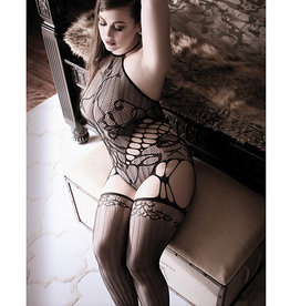 Fantasy Lingerie Sheer Fantasy Goodnight Kiss Caged Halter Teddy w/Attached Stockings Black QN