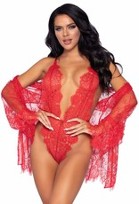 Leg Avenue 3 PC Lace Teddy and Robe Set - Red