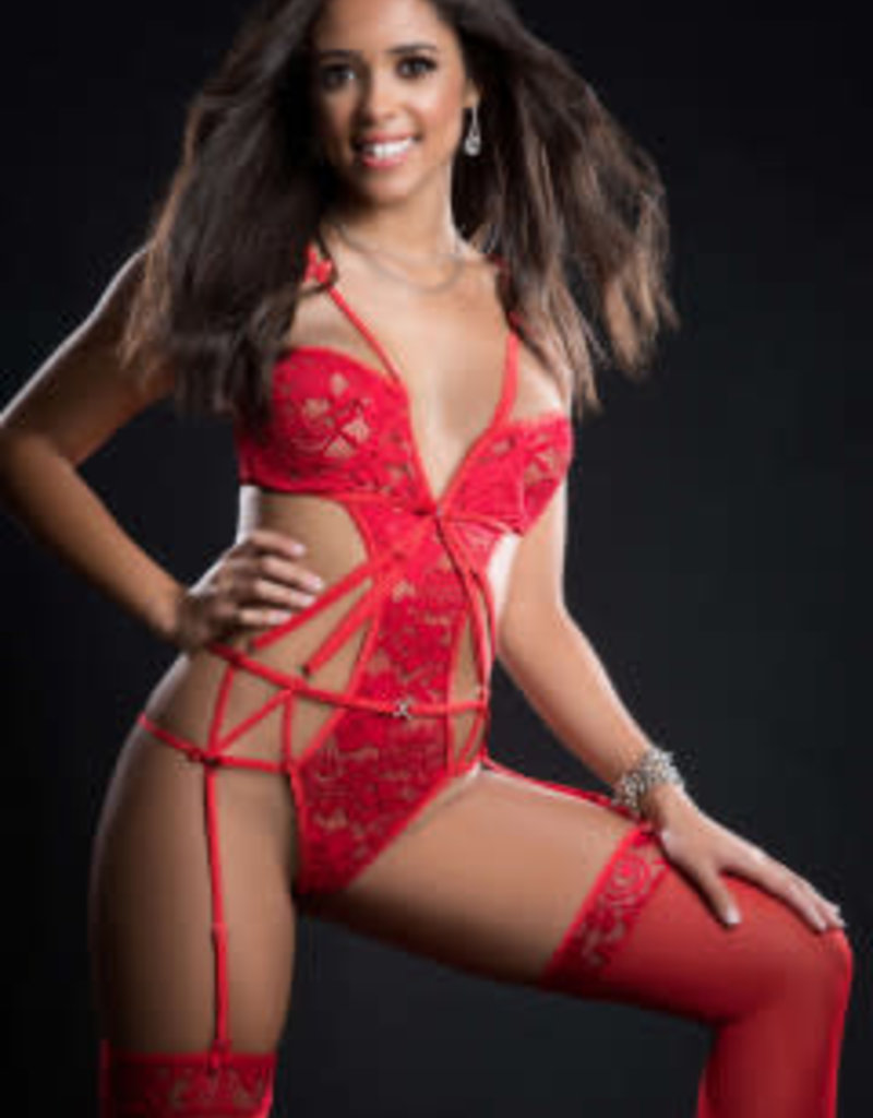 G World 2pc Embroidered Lace Garter Teddy and Stockings - One Size - Candy Red