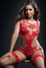 G World 2pc Caged Teddy and Lace Garter - One Size - Candy Red