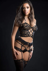 G World 4pc Cami Top Lingerie Set With Ruffled Garter Belt and Stockings - One Size