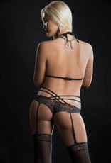 G World 2pc Scalloped Lace Teddy With Garter and Stockings - One Size