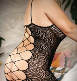 Fantasy Lingerie Wild Nights Harness Stretch Lace Dress With Open Back - Queen Size