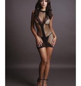 Shots Le Desir Shots Le Desir Net Contrast Mini Dress Black O/S