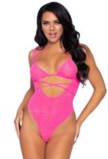 Leg Avenue 2 Pc. Rhinestone Wrap Around Bikini Top and Suspender Body Suit - One Size