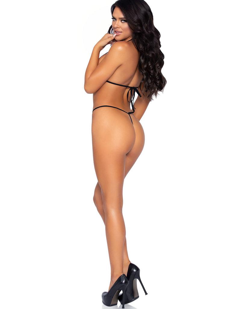 Leg Avenue 2 Pc. Rhinestone Net Bikini Top and G-String - One Size - Black