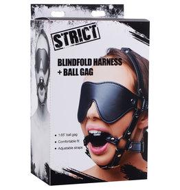 XR Brands Strict Blindfold Harness + Ball Gag