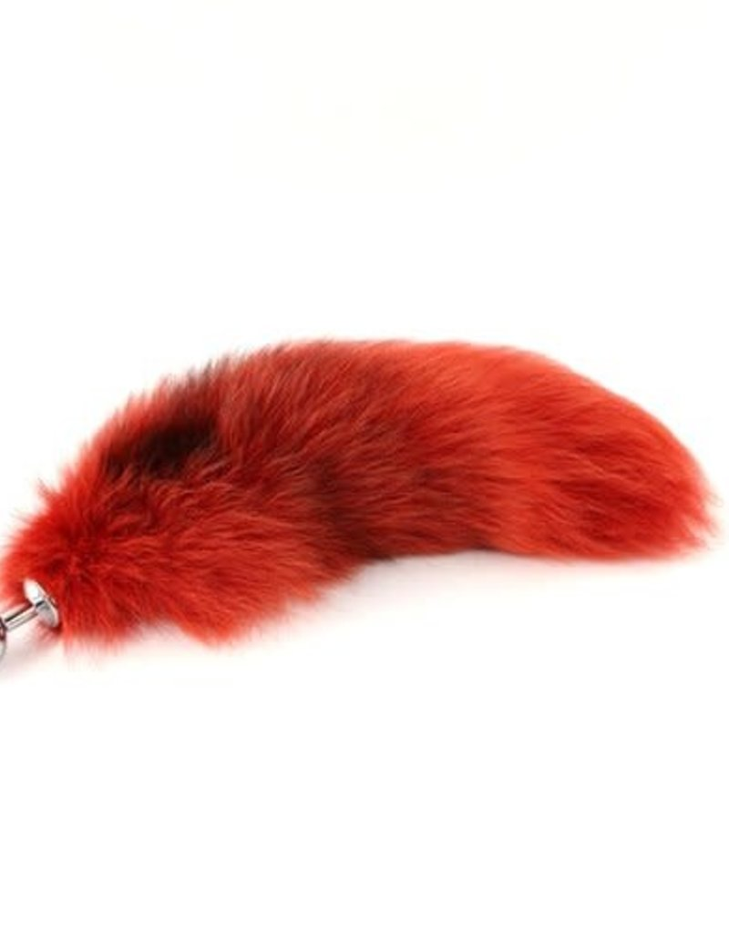 """Touch of Fur 14""""-17"""" Platinum Fox Tail Dyed Fire Red on Detachable Stainless Steel - Medium"""