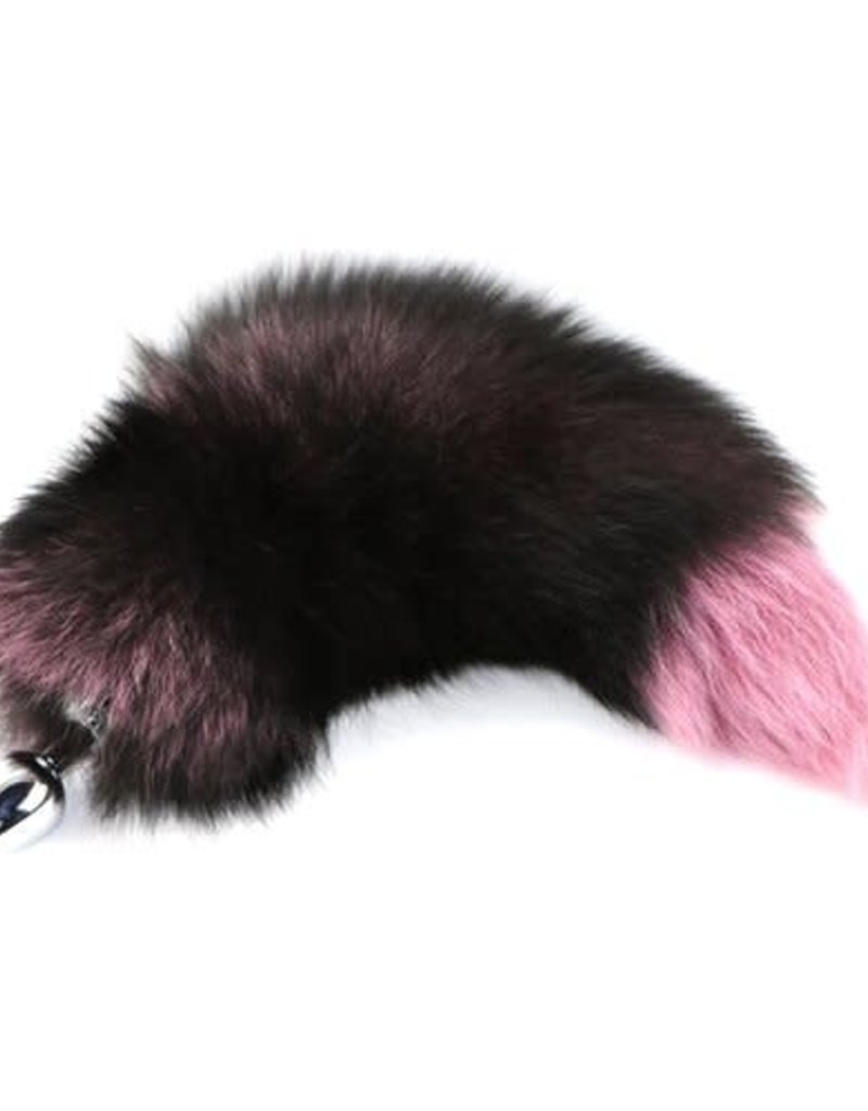 """Touch of Fur 14-17"""" Silver Fox Tail Dyed Pink on Detachable Small Stainless Steel Plug"""