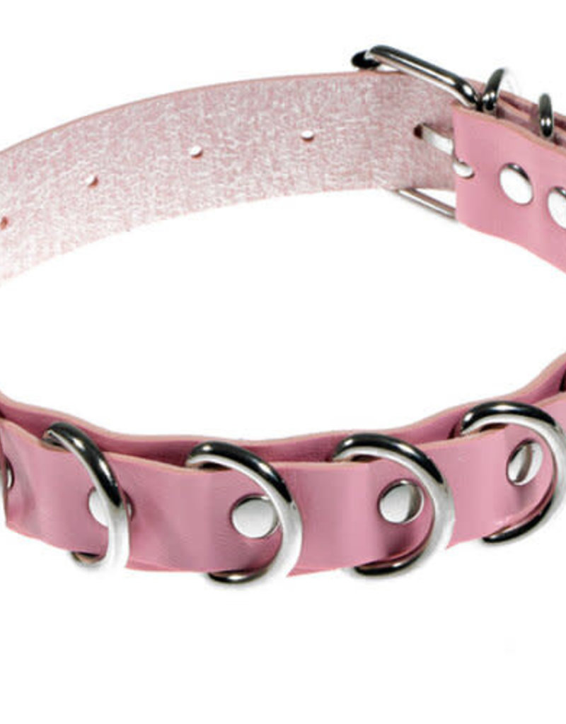 Touch of Fur Adjustable Leather Collar with D-Rings - Pink