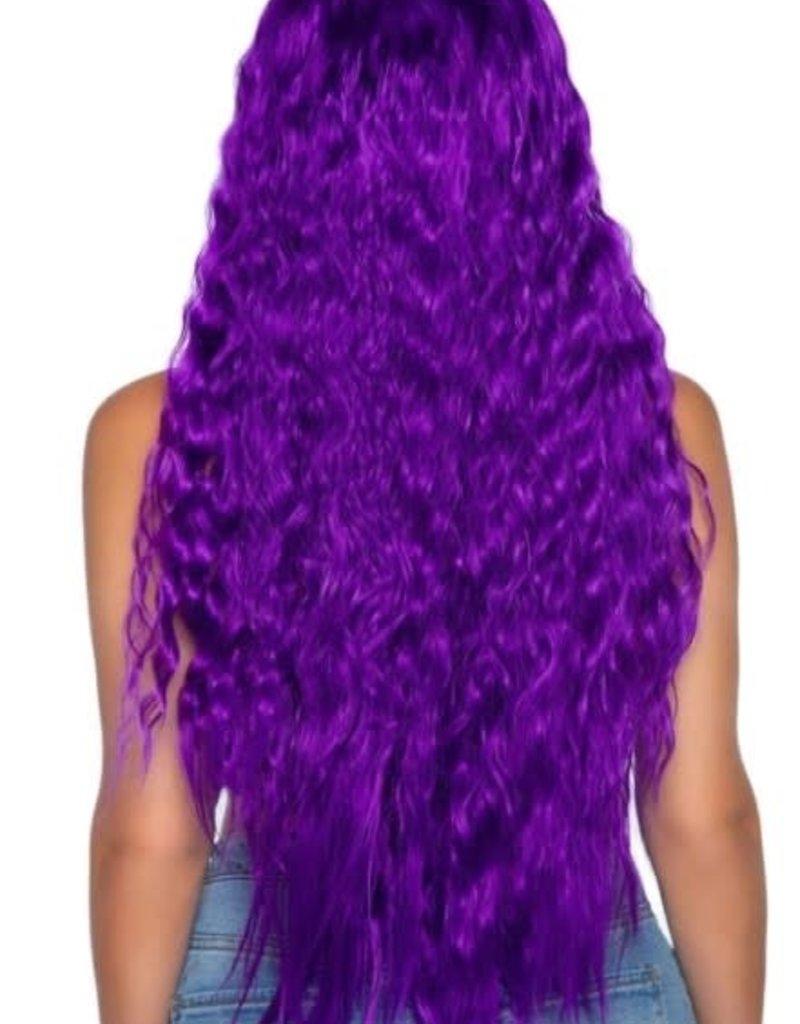 """Leg Avenue 29"""" Beachy Wave Long Center Part Wig - Purple"""