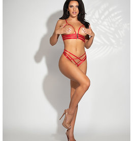 Seven Til Midnight Strappy Elastic Open Cup Bra w/Zipper Closure & Open Crotch Panty Red O/S