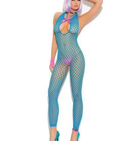 Elegant Moments Vivace Crochet Footless Bodystocking w/Open Crotch Neon Blue O/S