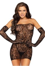 Leg Avenue 2 PC Seamless dotted lace tube dress and matching gloves