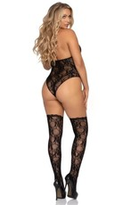 Leg Avenue 2 PC Floral Lace Deep-V Teddy with Matching Stockings - OS