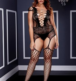 Baci Corset Front Suspender Fishnet Bodystocking - Queen Size