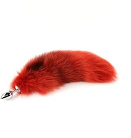 """Touch of Fur 14""""-17"""" Platinum Fox Tail Dyed Fire Red on Small Stainless Steel Plug"""