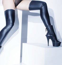 Coquette Lingerie Wet Look Stocking - Black - One Size