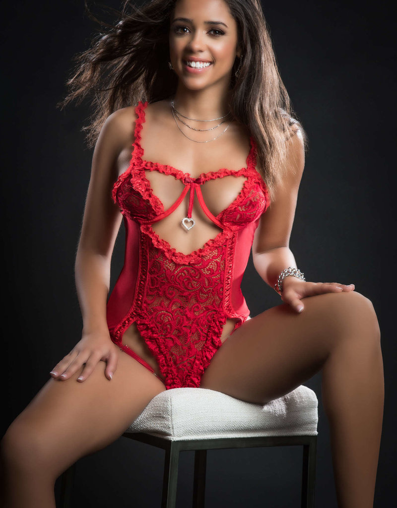 G World 1pc Queen of Hearts Laced Teddy With Open Rear View Half Open Cups - One Size
