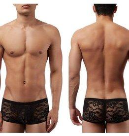 Male Power Stretch Lace Mini Short - Black