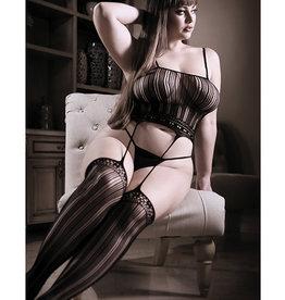 Fantasy Lingerie Sheer Fantasy Striped Gartered Bodystocking Black QN