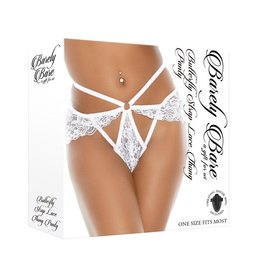 Barely Bare Barely Bare Butterfly Strap Lace Thong Panty - O/S - White