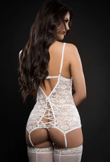 G World 3pc Lace Up Plunge Garter Slip With Open Cups Zipper and Stockings - One Size - White