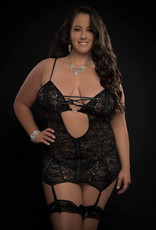 G World 3pc Lace Up Plunge Garter Slip With Open Cups Zipper and Stockings - Queen Size - Black