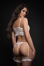 G World 2pc Dreamy Lace O - Ring Caged Garter Teddy - One Size - White