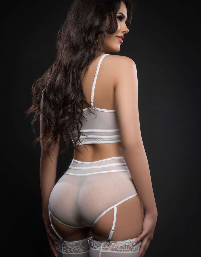 G World 3pc Zippered Bustier Top and Garter Boyshort With Stockings - One Size - White