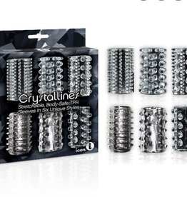 Icon Brands Crystallines Stretchable Body Safe TPR Sleeves In Six Unique Styles Clear