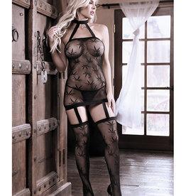 Fantasy Lingerie Sheer Fantasy High Society Halter Dress w/Attached Gartered Stockings Black O/S