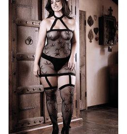 Fantasy Lingerie Sheer Fantasy High Society Halter Dress w/Attached Gartered Stockings Black Queen Size